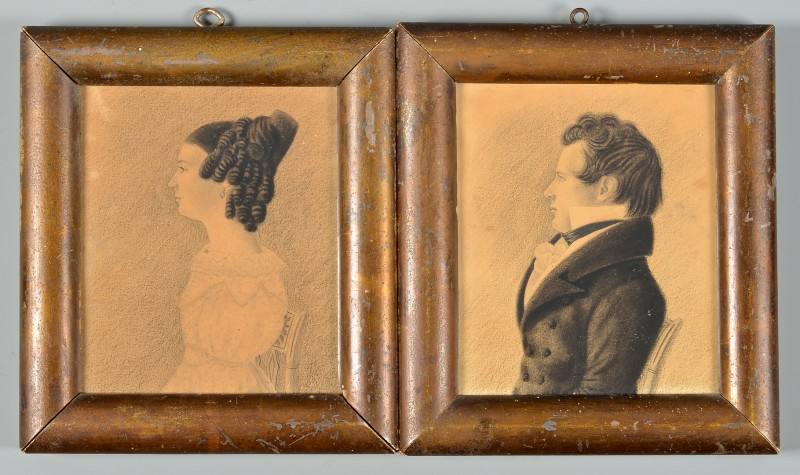 Lot 198: Pair VA Charcoal Profile Portraits, attrib. Charle