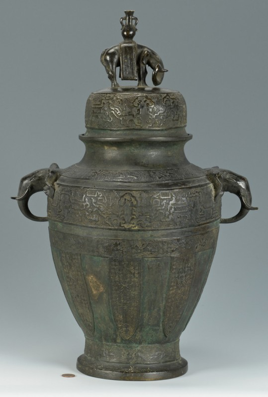 Lot 19: Large Chinese Bronze Lidded Urn w/ Elephants