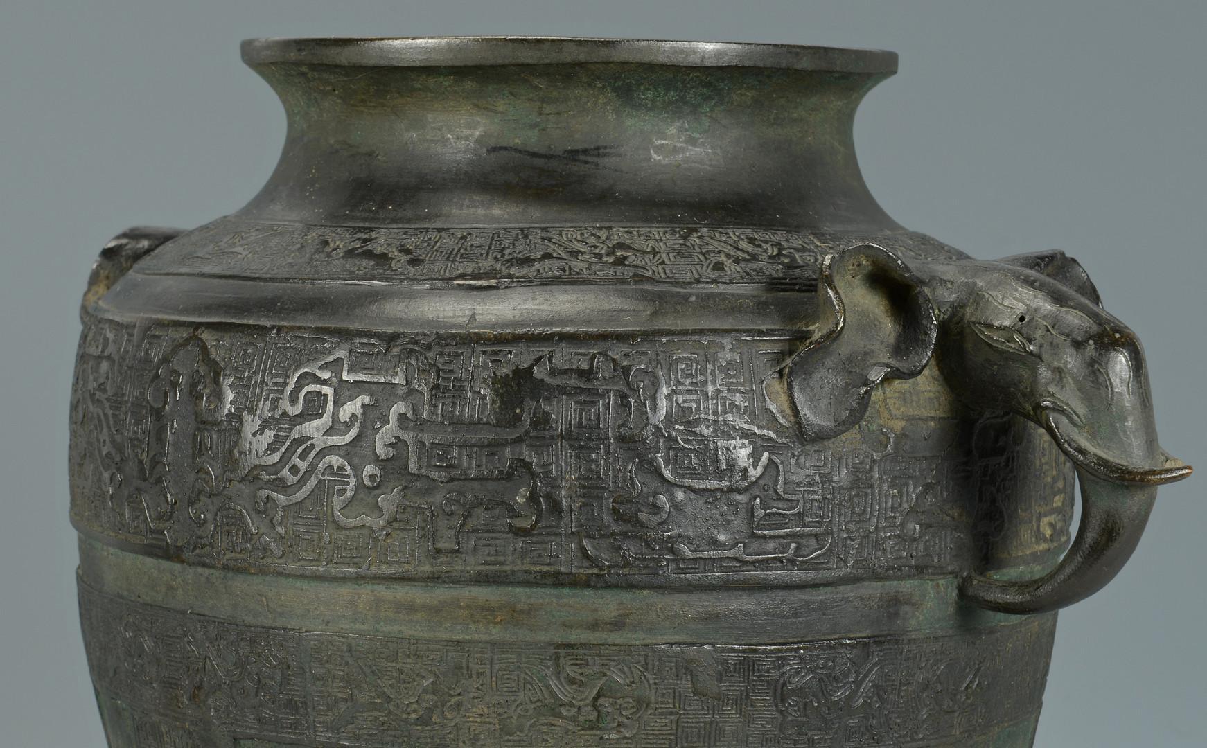 Lot 19 Large Chinese Bronze Lidded Urn W Elephants