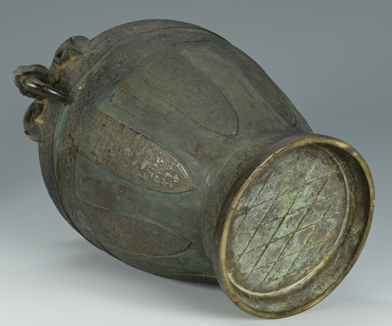 Lot 19: Large Chinese Bronze Lidded Urn w/ Elephants