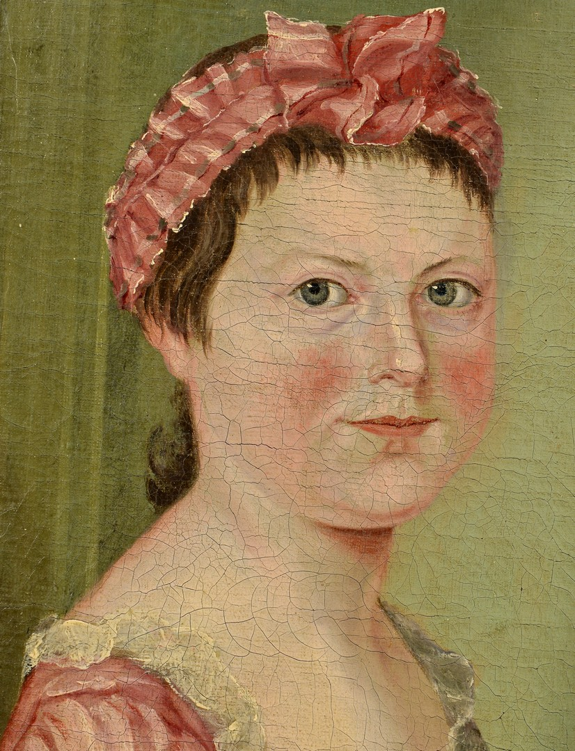 Lot 200: 18th c. Portrait of a Girl, Signed