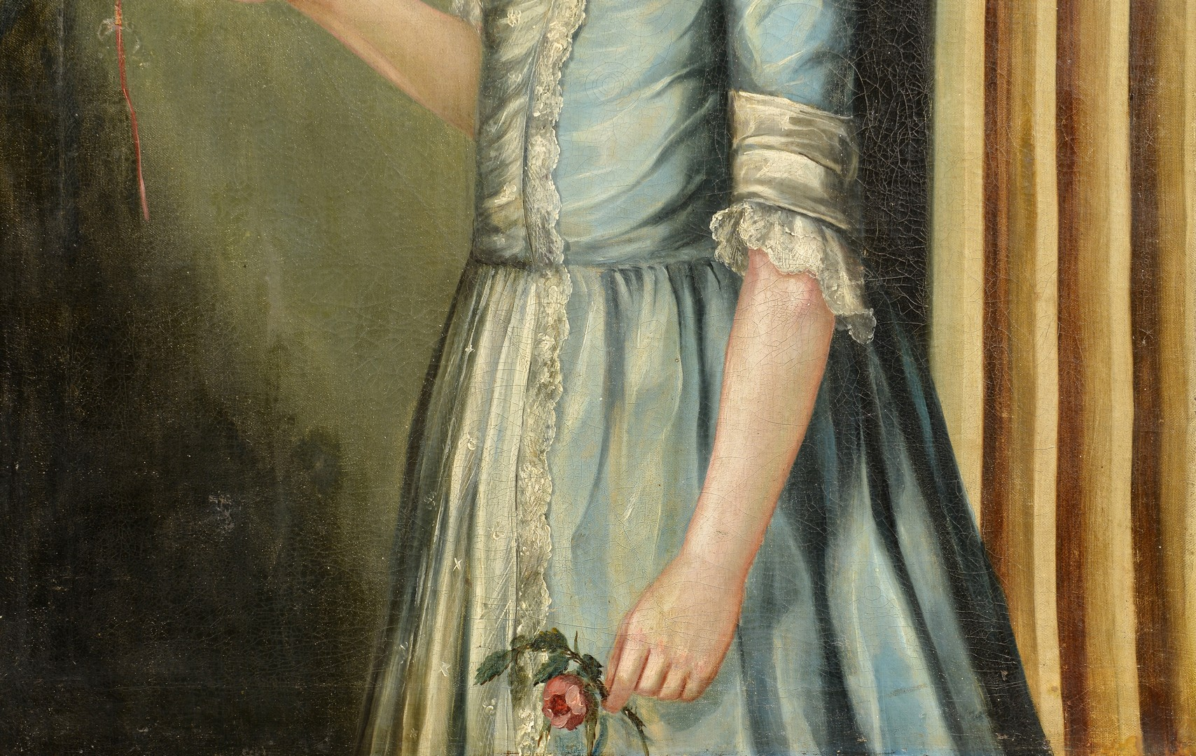 Lot 201: 18th c. Portrait of a Girl with Bird