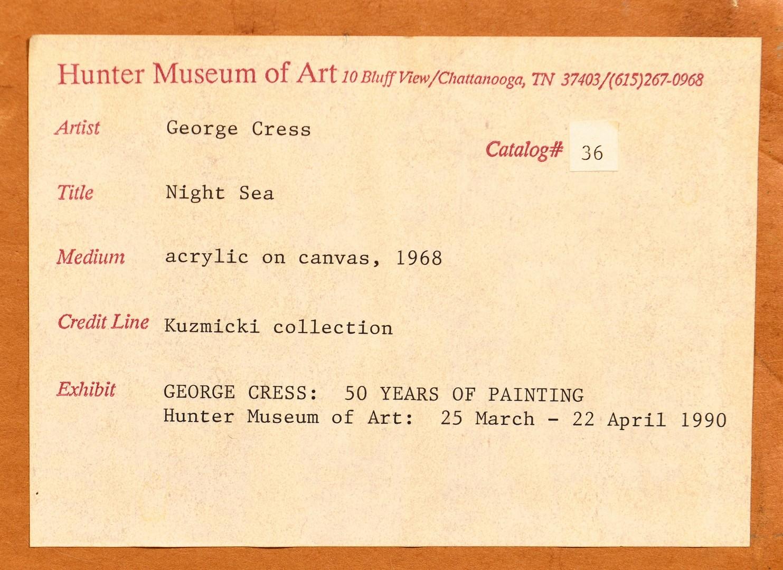 Lot 218: George Cress acrylic on canvas titled Night Sea