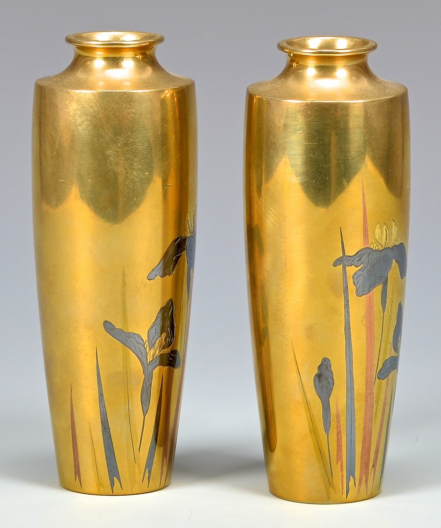 Lot 21: Pr. Meiji Bronze Vases by Mitsunobu