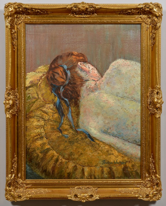 Lot 221: Pauline Wallen Resting Female Oil