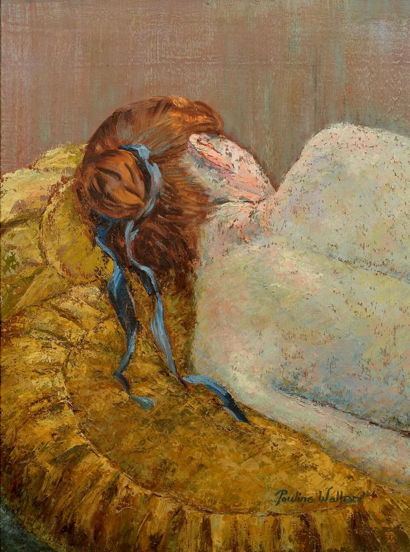 Lot 221: Pauline Wallen Resting Female Oil