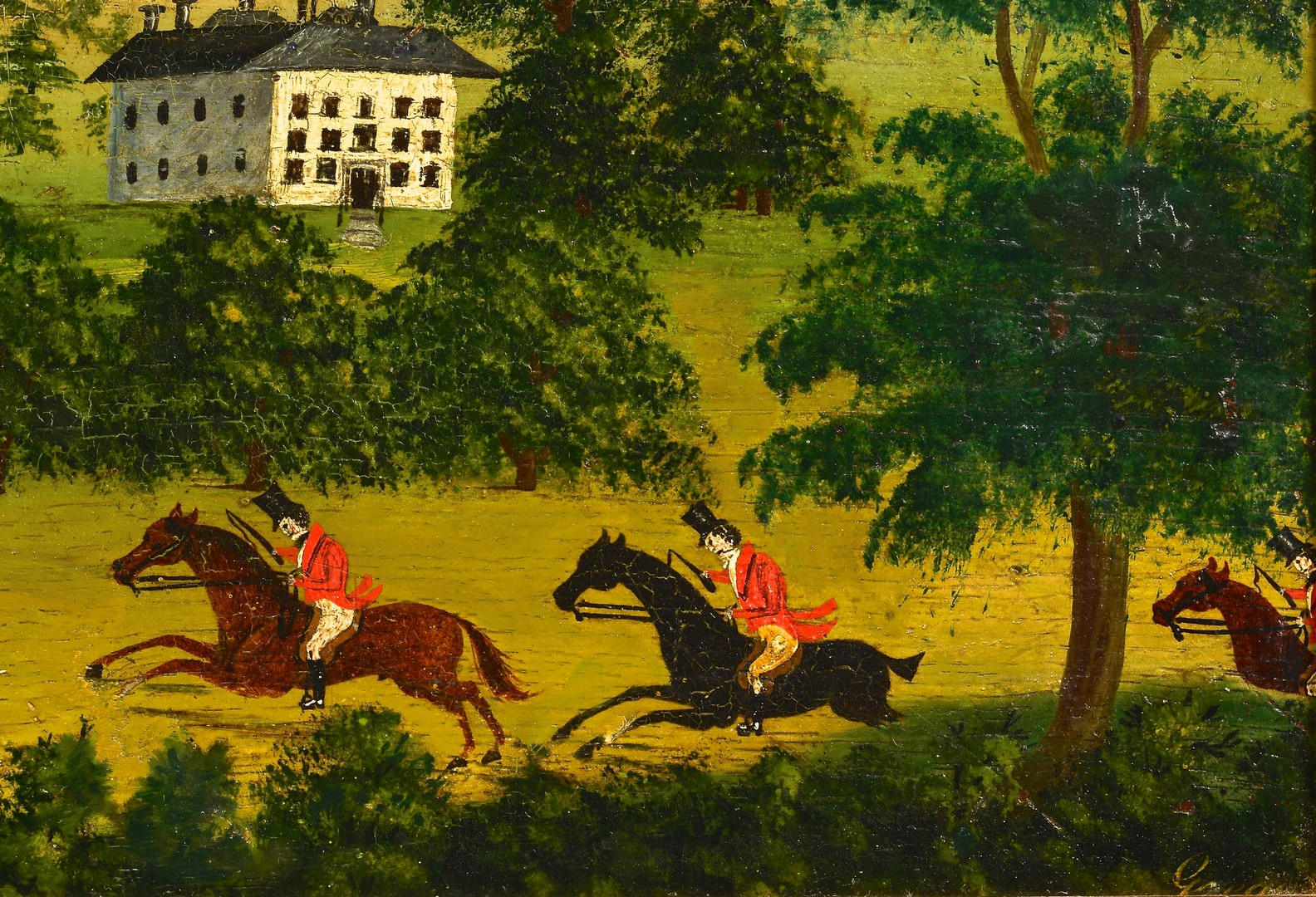 Lot 222: Pair Hunt Scene Paintings, Signed Gregory
