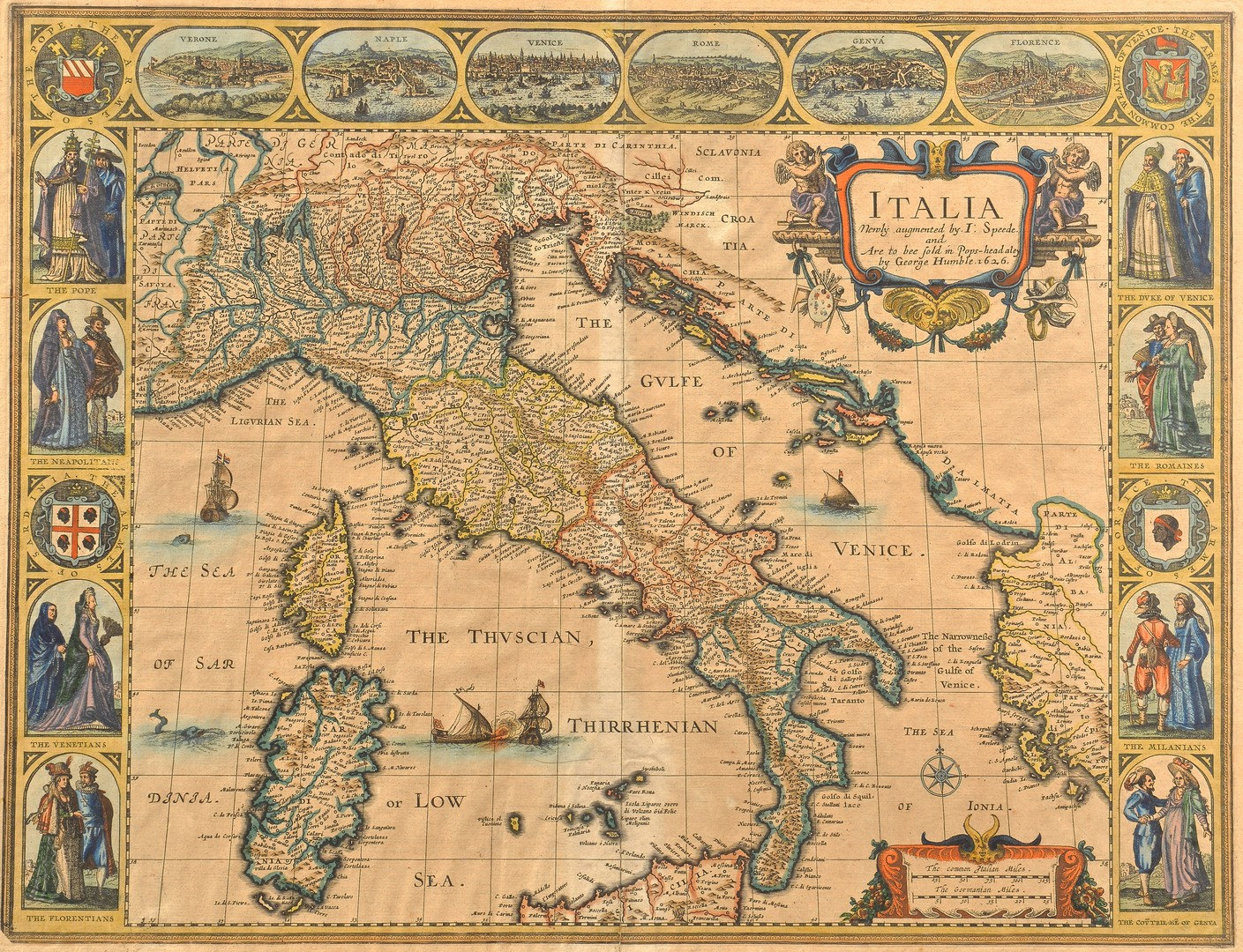 Lot 233: J. Speed 1626 Map of Italy plus Swiss Map