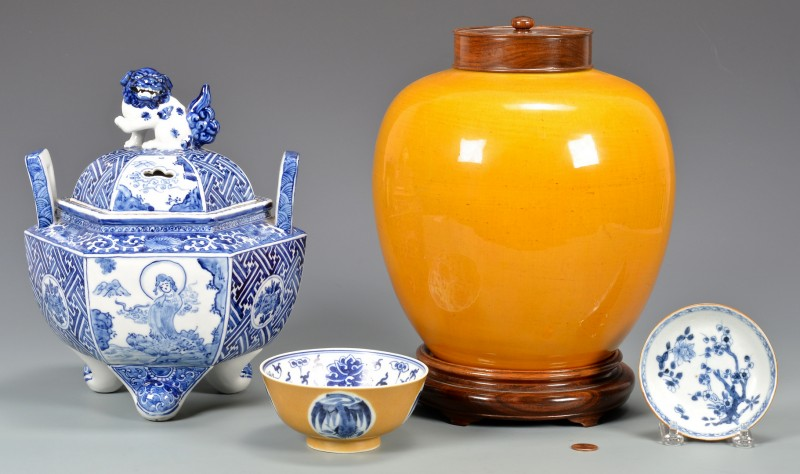 Lot 24: 4 Asian Blue and Yellow Ceramic Items