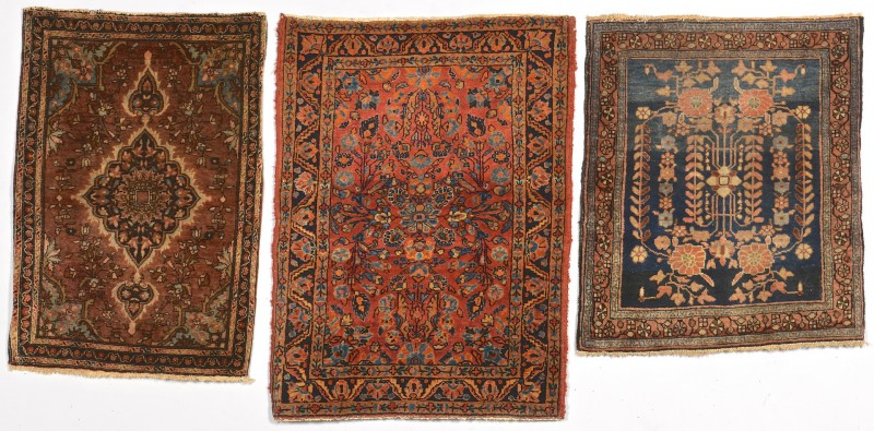 Lot 253: Three Sarouk Mats, 1st half 20th c.