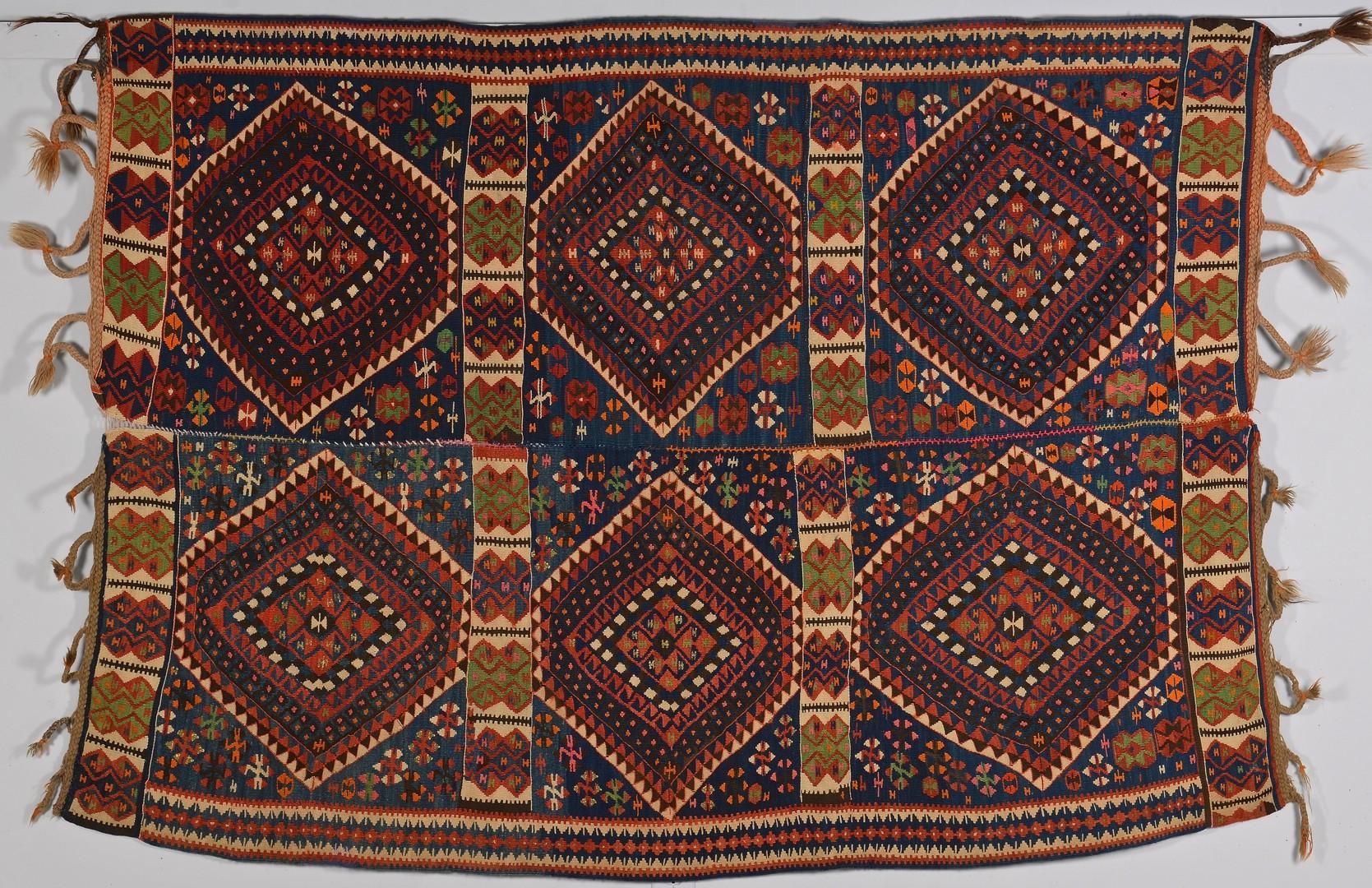 Lot 259: Antique Turkish Yoruk Kilim w/ metallic threads, c