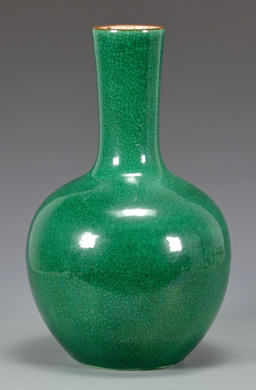 Lot 25: Chinese Green Monochrome Bottle Vase
