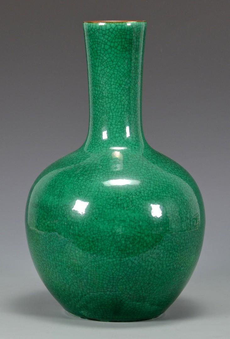Lot 25: Chinese Green Monochrome Bottle Vase