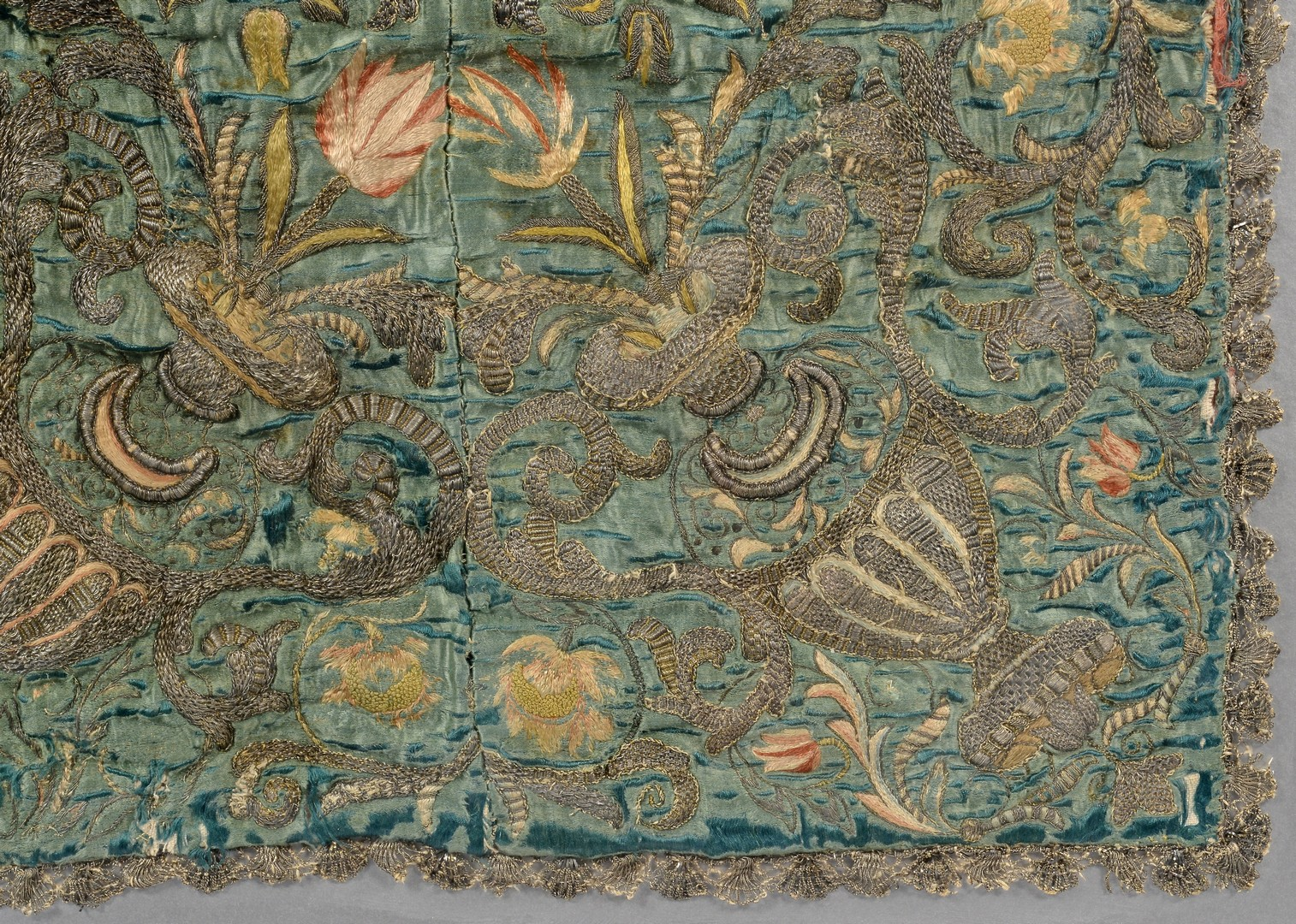 Lot 261: 2 Framed Italian Embroidered Textiles
