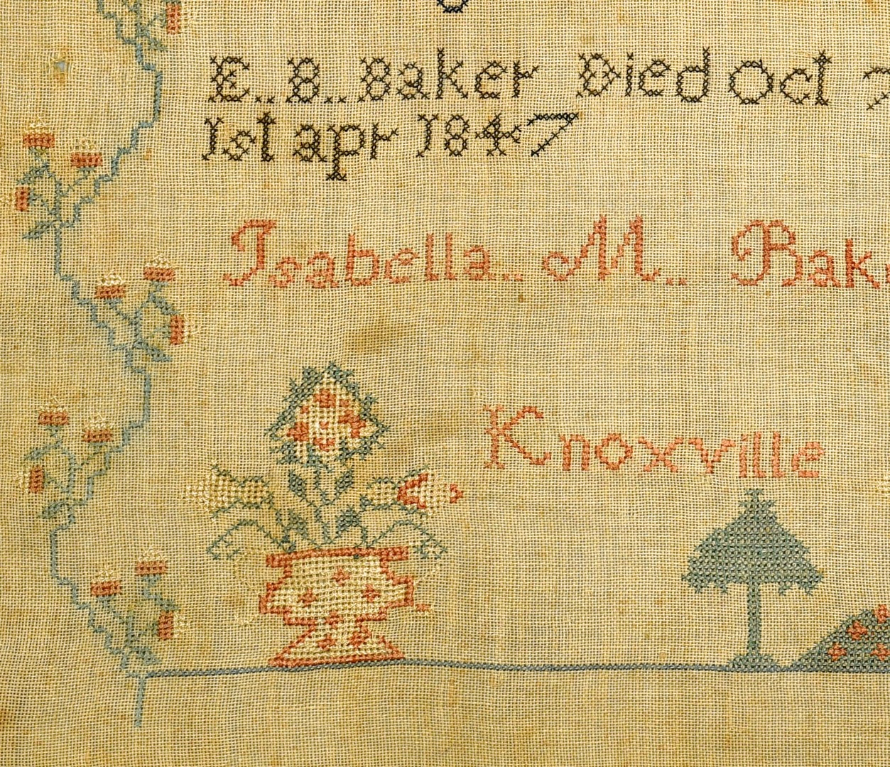 Lot 264: Knoxville, TN Sampler, I. Baker, 1848
