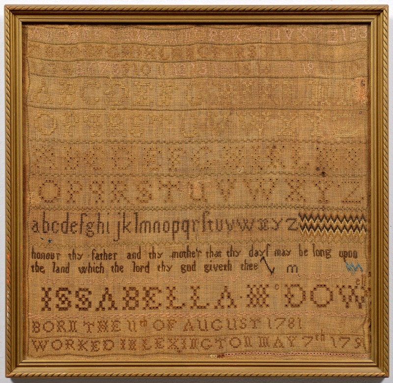 Lot 266: 1791 Dated Sampler, Lexington KY