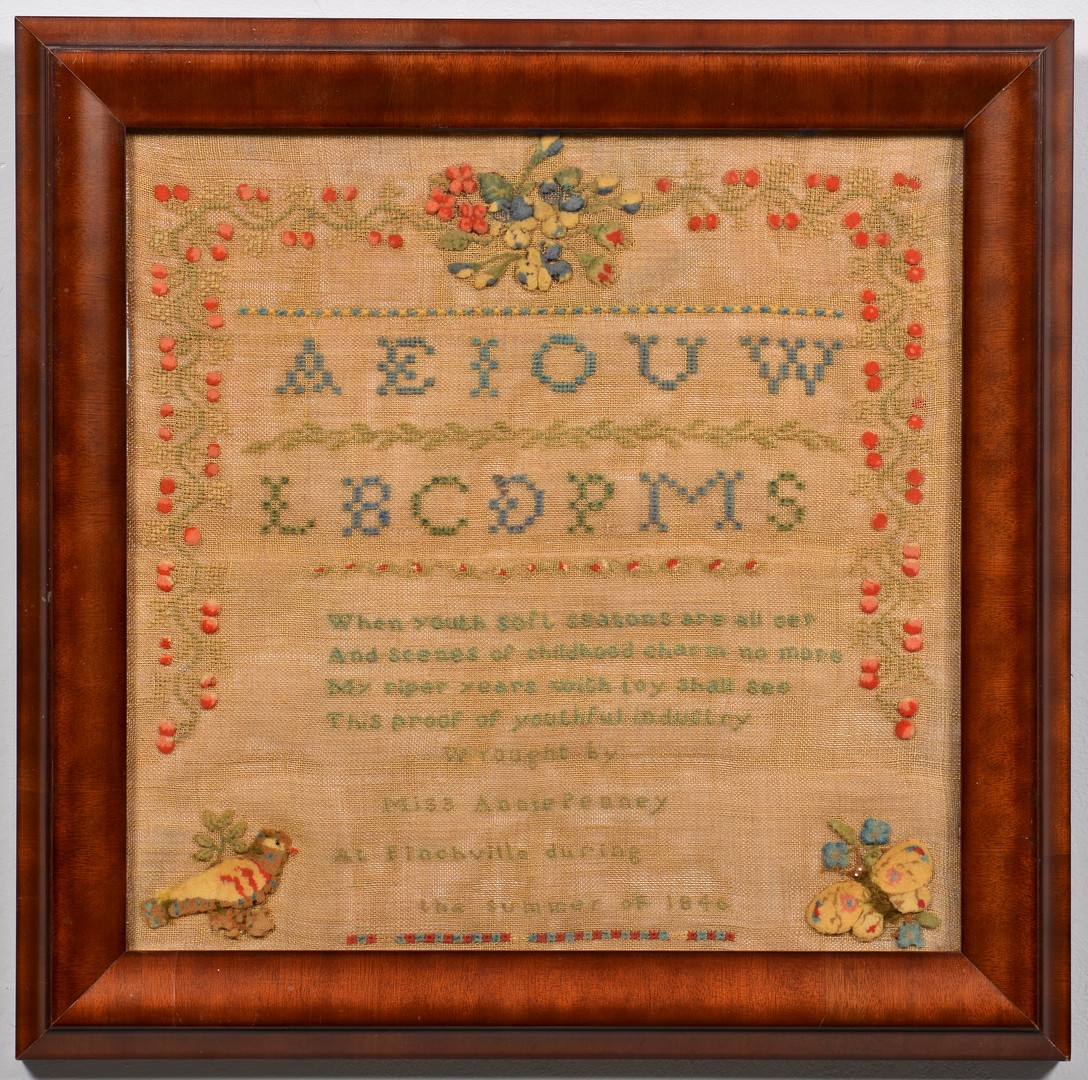 Lot 267: 1840 Sampler, Finchville, KY. Strawberry Design