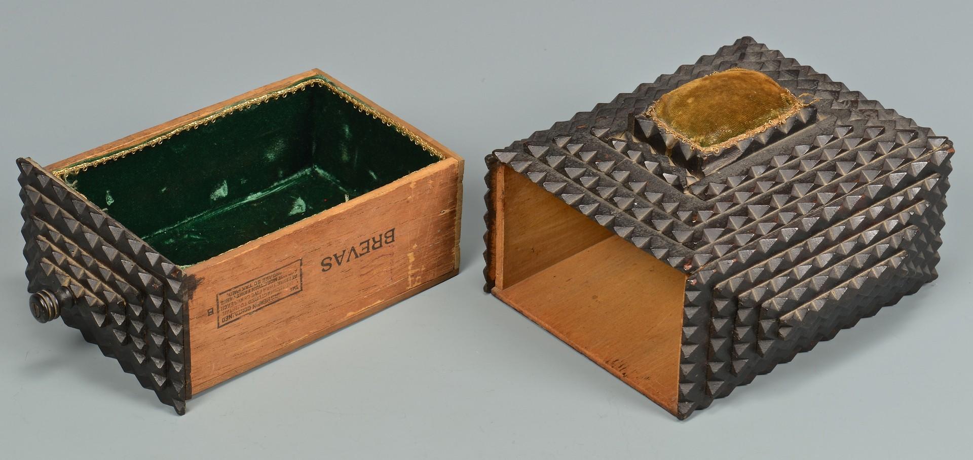 Lot 268: Folk Tramp Art Sewing Box w/ Contents