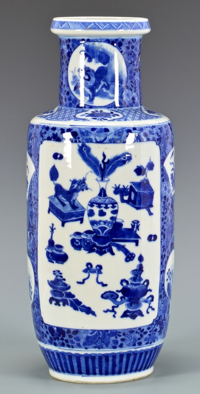 Lot 26: Chinese Blue & White Rouleau Vase