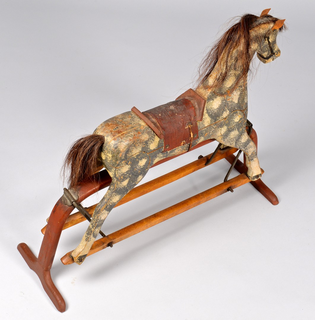 Lot 274: Painted Child's Rocking Horse on Stand, 1878 Paten