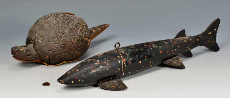 Lot 278: 2 Folk Art Painted Fishing Decoys, Fish & Turtle