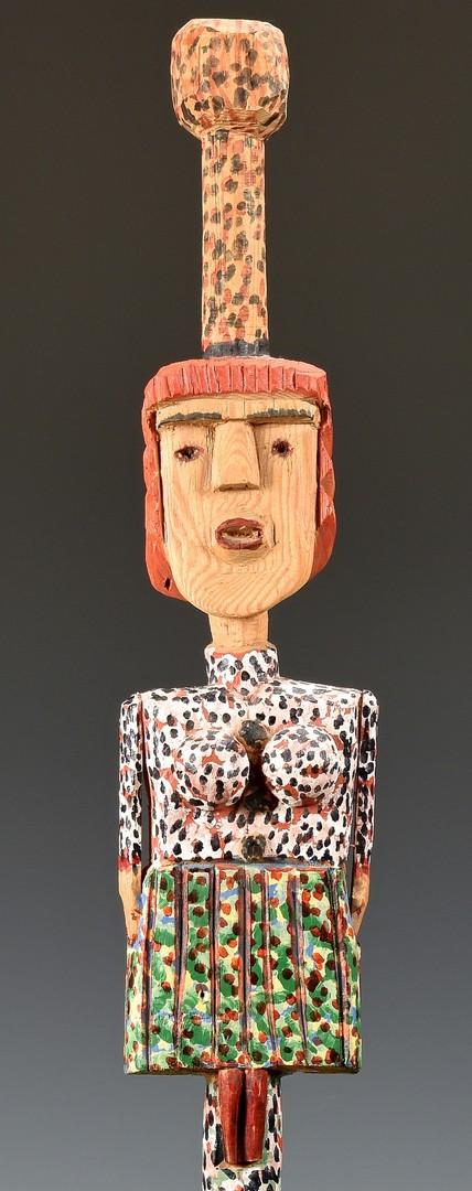 "Lot 280: Figural ""Dolly Parton"" Folk Art Cane & Sewer Tile"