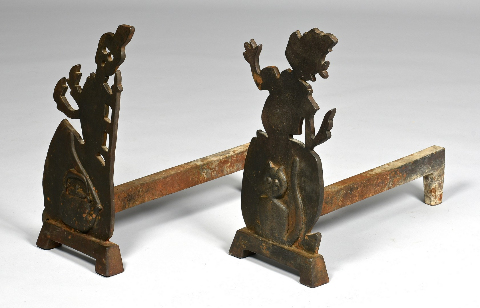Lot 284: Pr. of Witch Silhouette Form Andirons & Dachshund