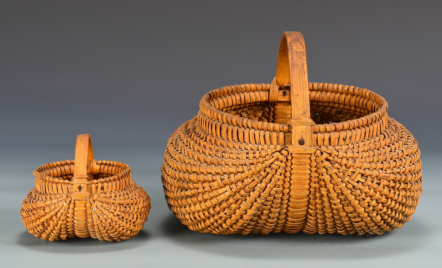 Lot 286: 2 East TN Split Oak Baskets, attrib. Greene Co.
