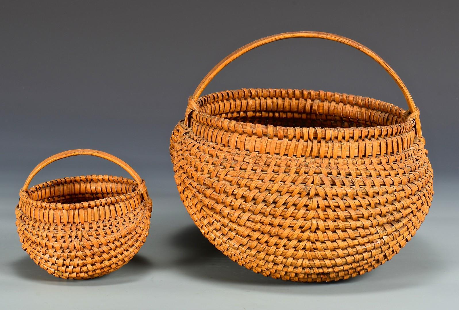 Lot 286: 2 East TN Split Oak Baskets, attrib. Greene Co.