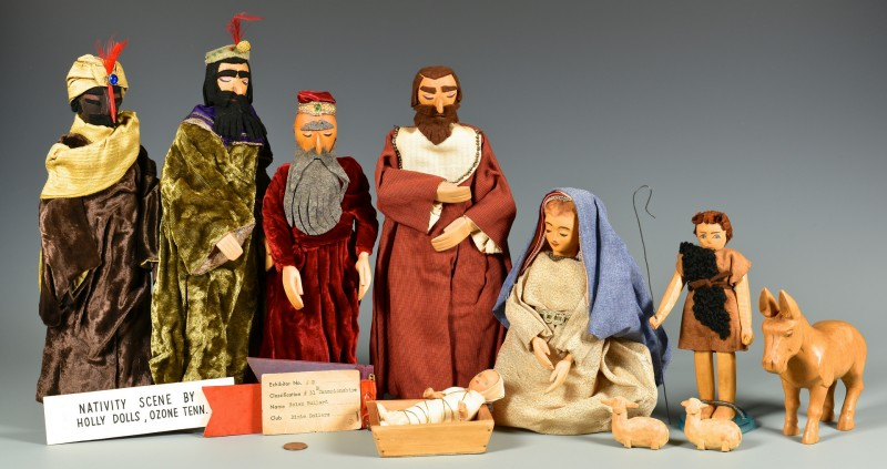 Lot 292: Helen Bullard Folk Art Nativity Set, 11 pcs.