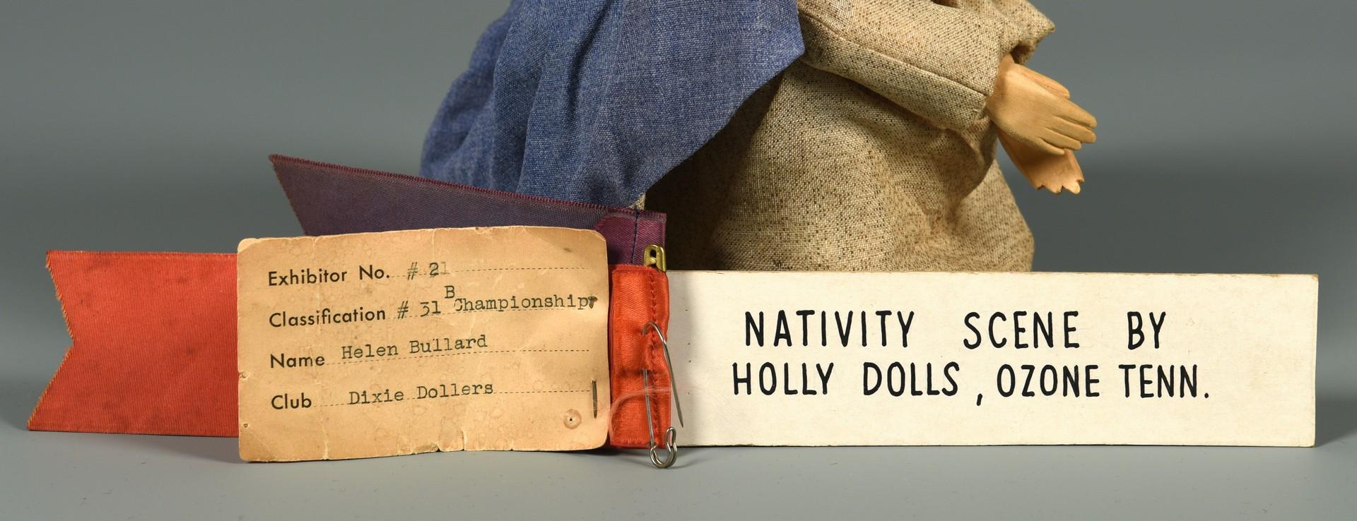 Lot 292: Helen Bullard Folk Art Nativity Set, 11 pcs.