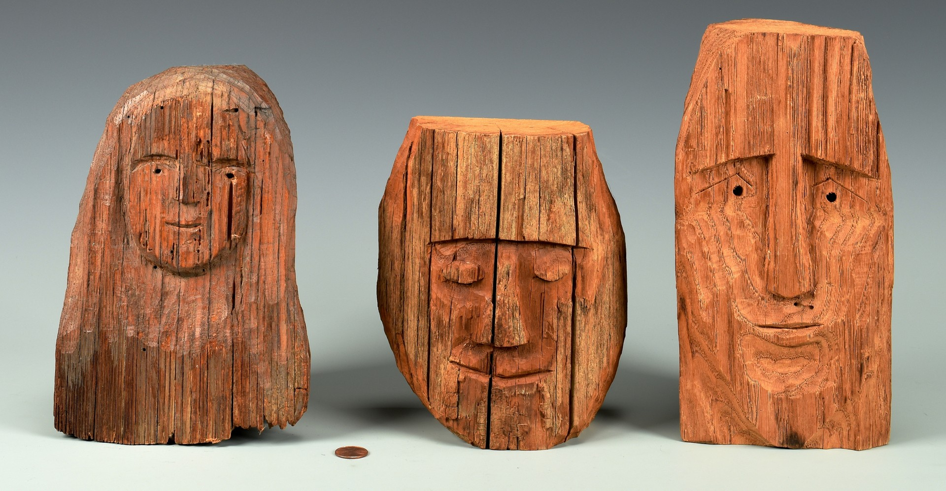 Lot 293: 3 Helen Bullard Folk Art Carved Heads