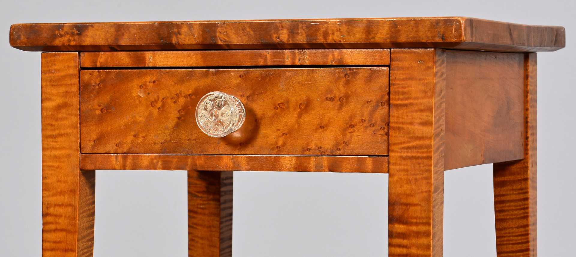 Lot 294: Tiger Maple One Drawer Stand