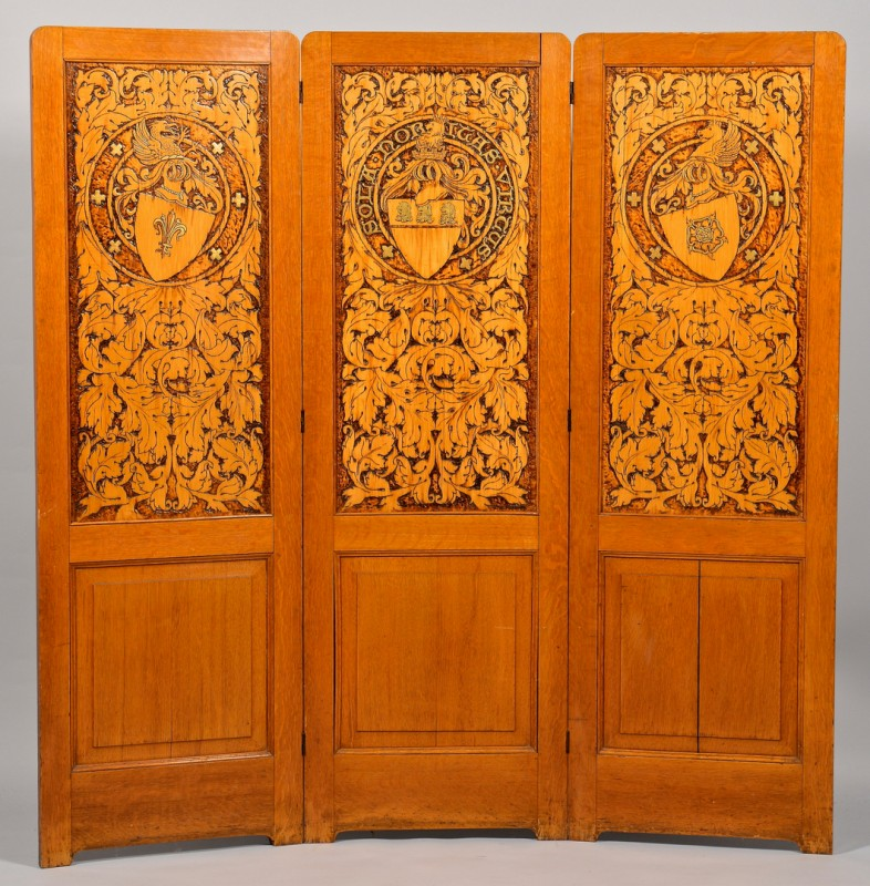 Lot 295: Panel Screen, J. W. Fosdick Pyrography