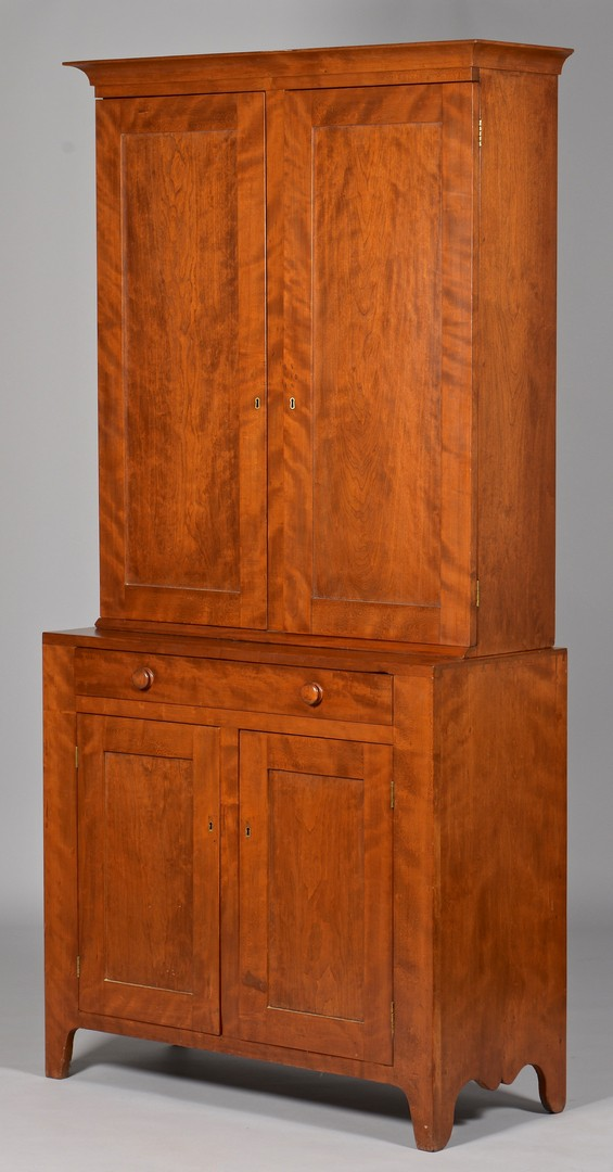 Lot 297: Figured Cherry Two Piece Cupboard, Ohio River Vall