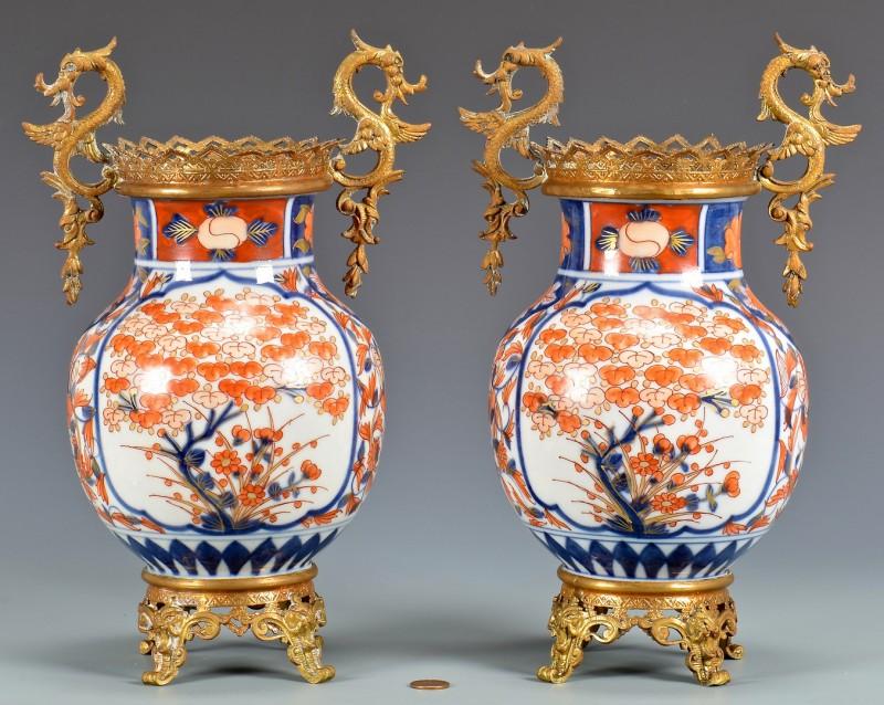 Lot 29: Pair Imari Urns with Gilt Mounts