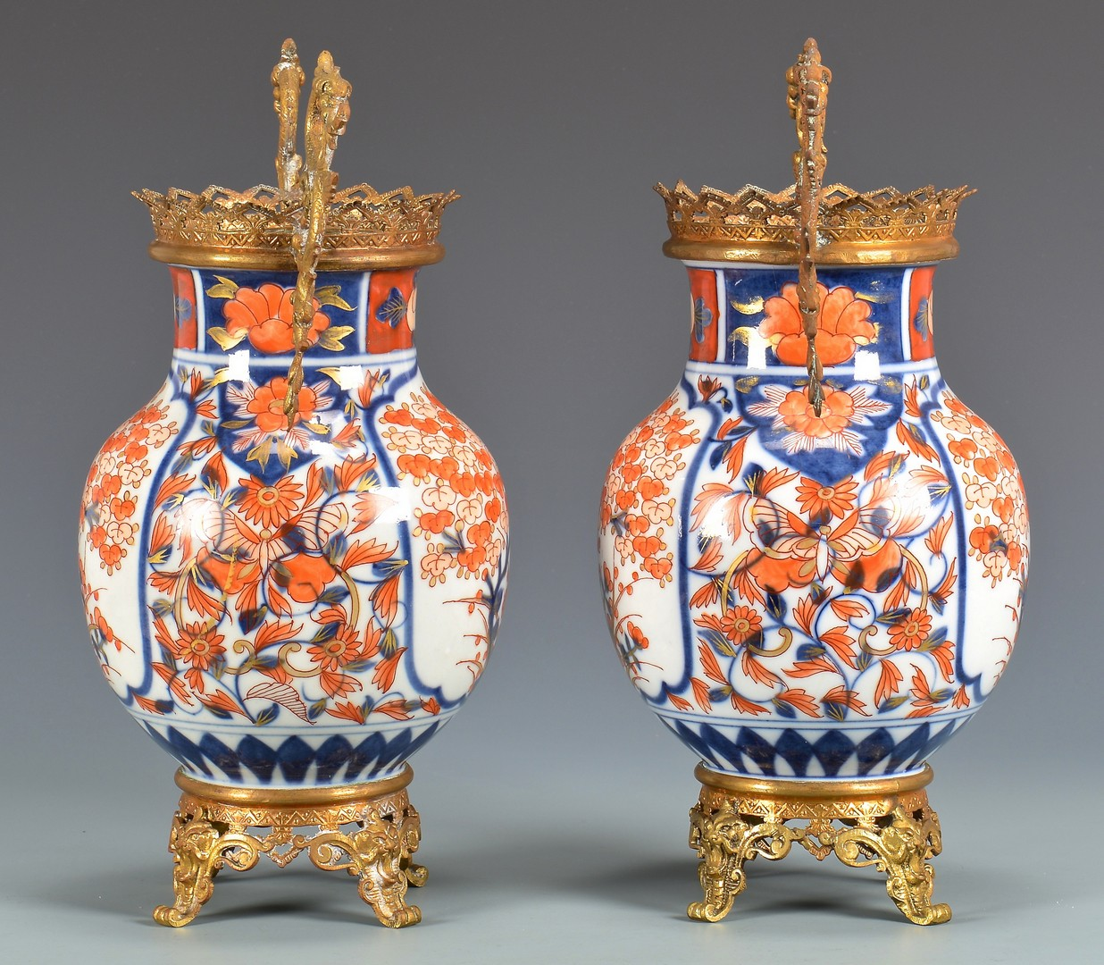 Lot 29: Pair Imari Urns with Gilt Mounts