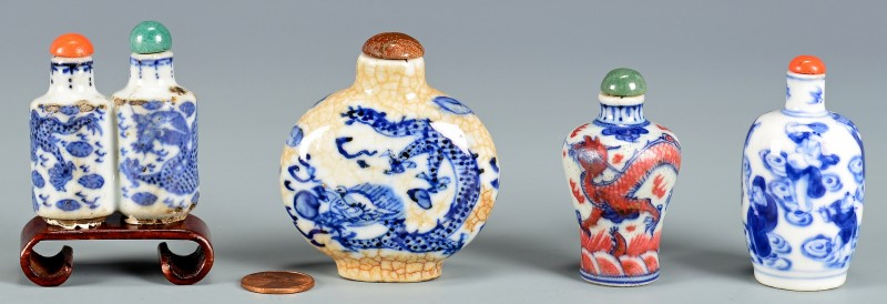 Lot 2: 4 Chinese Blue & White Porcelain Snuff Bottles