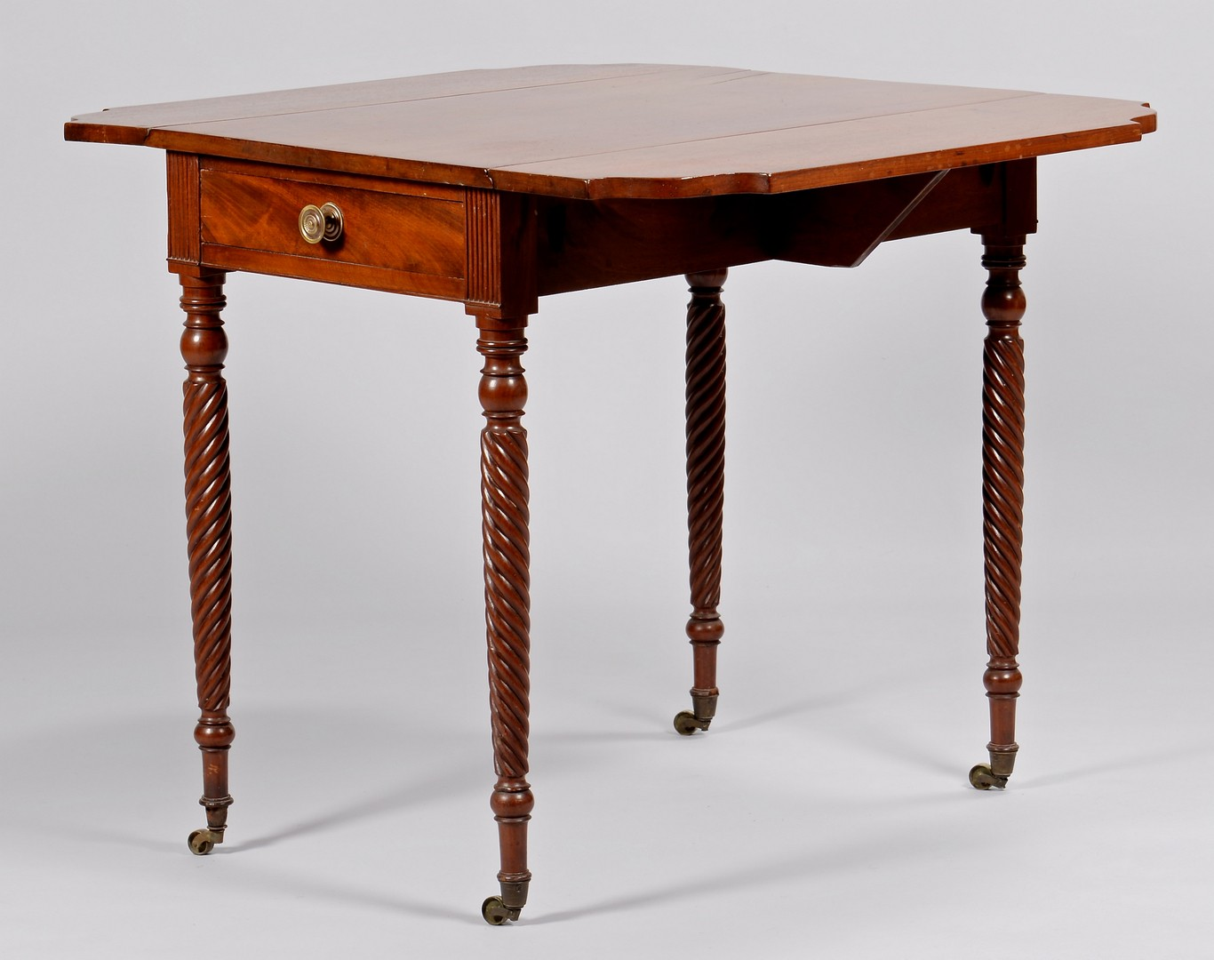 Lot 308: Southern Pembroke Table with Spiral Tapered Legs,