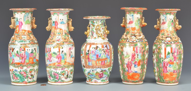 Lot 30: 5 Rose Mandarin Garniture Vases