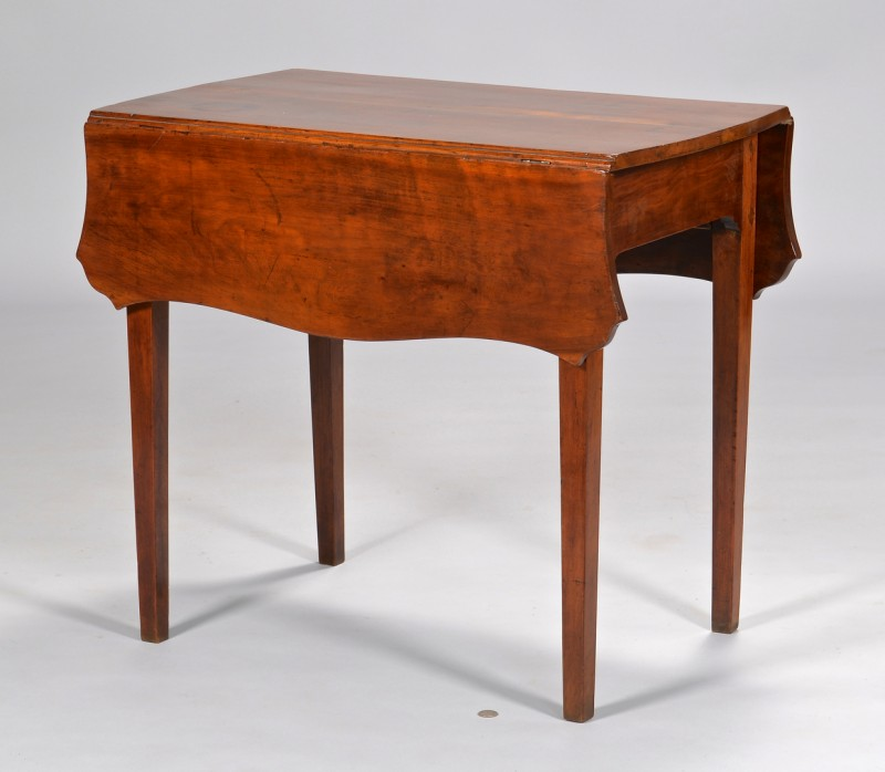 Lot 312: Southern Cherry Pembroke Table w/ Serpentine Shape
