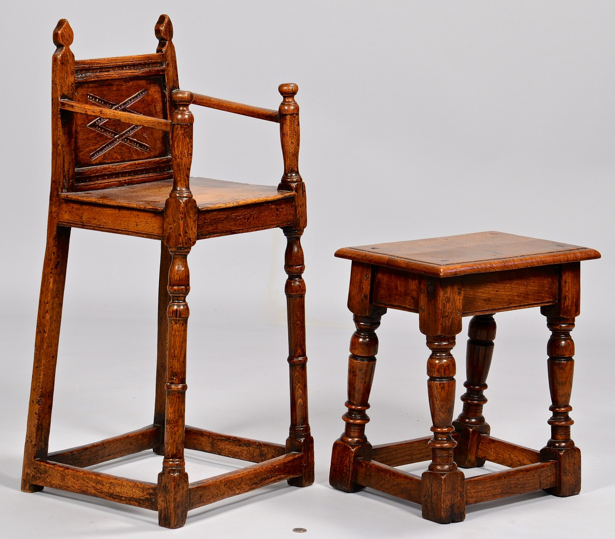 Lot 317: English Jacobean High Chair and small Table/stool