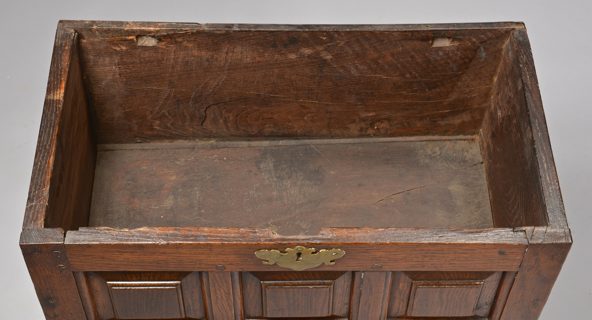 Lot 318: Small William & Mary Style Oak Chest on Stand