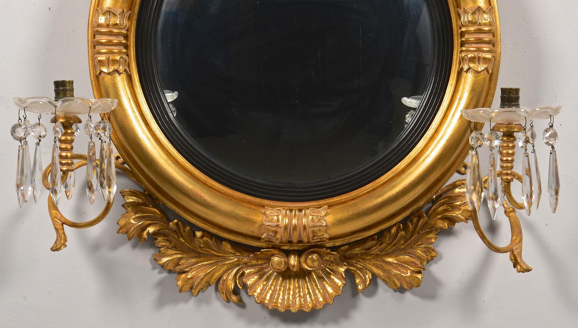 Lot 319: 2 Decorative Gilt Mirrors, incl. Bullseye