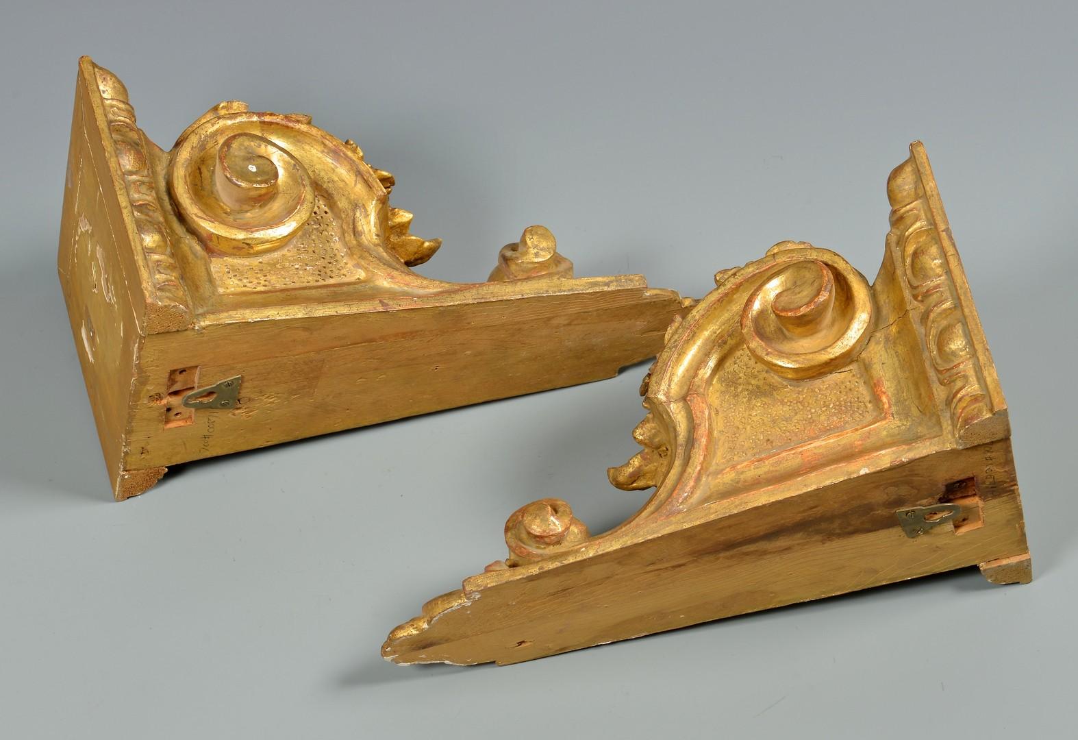 Lot 325: Pr. Gilt Wood Sconces & Cherub Carving