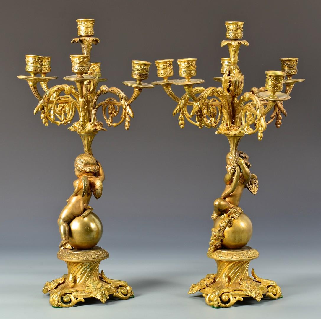 Lot 327: Pr Gilt Bronze Winged Cherub Candelabra on Rococo