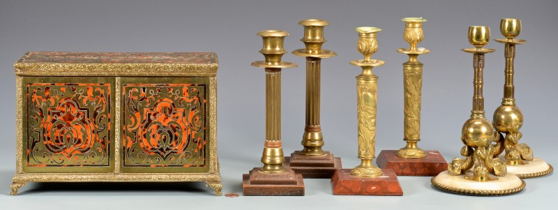 Lot 328: Boule & Brass Box w/ 3 pr Candlesticks