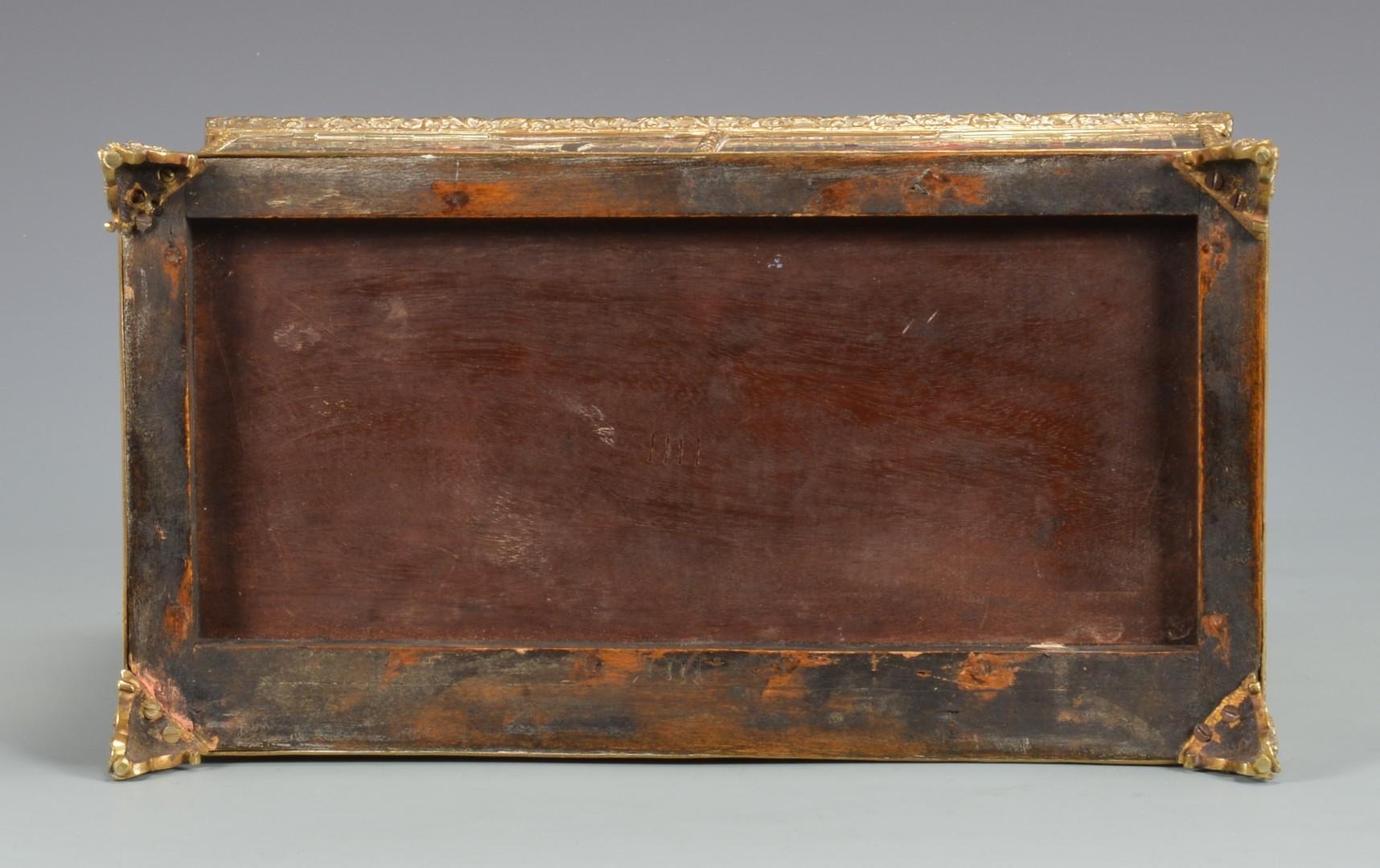 Lot 328: Boule & Brass Box w/ 3 pr Candlesticks