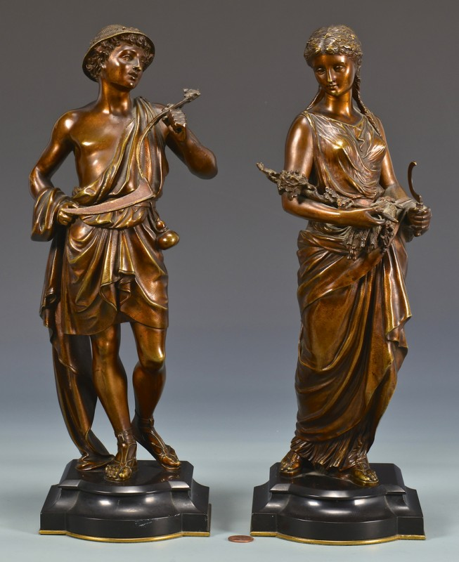 Lot 329: Pr. of Bronze Classical Figural Sculptures