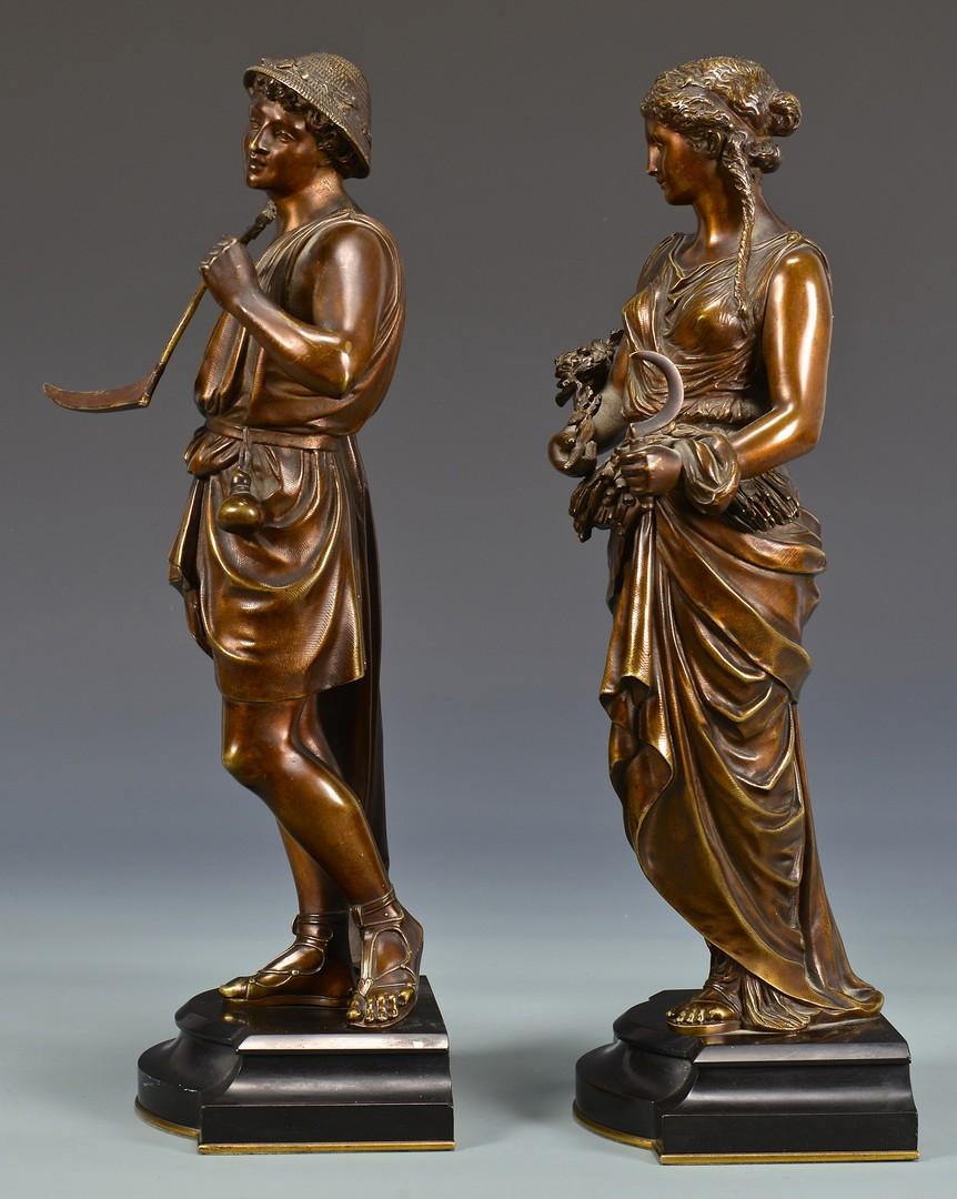 Lot 329: Pr. of Bronze Classical Figural Sculptures